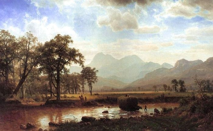 Albert Bierstadt Haying, Conway Meadows