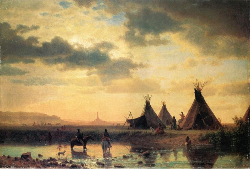 Albert Bierstadt View of Chimney Rock, Ogalillalh Sioux Village in Foreground