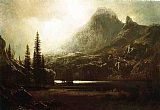 Albert Bierstadt By a Mountain Lake painting