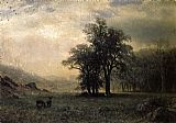Albert Bierstadt Deer in a Landscape painting