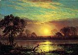 Albert Bierstadt Evening, Owens Lake, California painting