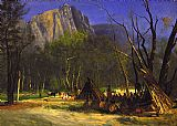 Albert Bierstadt Indians in Council, California painting