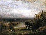 Alexander Helwig Wyant Farmhouse in a River Valley painting
