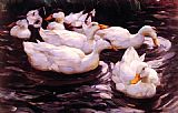Alexander Koester Six Ducks in a Pond painting