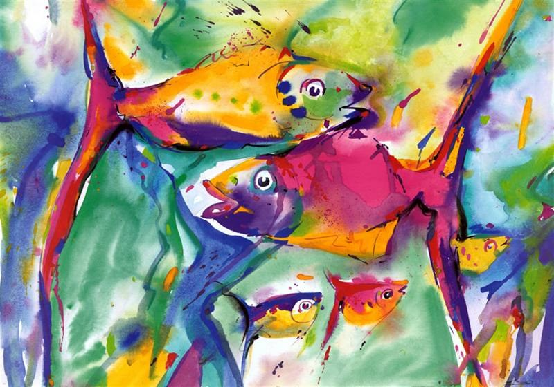 Alfred gockel colorful fish painting best paintings for sale for Colorful fish pictures