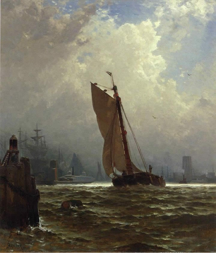 Alfred Thompson Bricher New York Harbor with the Brooklyn Bridge Under Construction