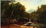 Alfred Thompson Bricher Fisherman by a Mountain Stream painting