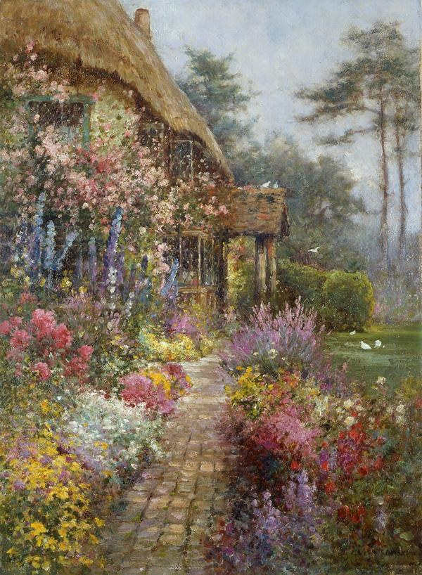 Alfred de Breanski A Garden in July