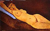 Amedeo Modigliani Reclining Nude with Blue Cushion painting