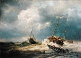 Andreas Achenbach Ships in a Storm on the Dutch Coast 1854 painting