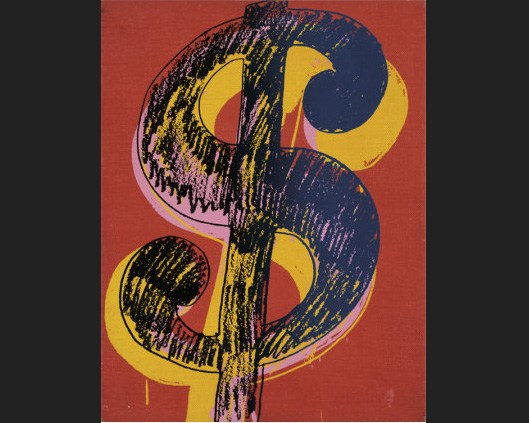 Andy Warhol dollar sign black and yellow on red