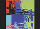 Andy Warhol Brooklyn Bridge Orange Blue Lime painting