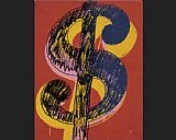 Andy Warhol dollar sign black and yellow on red painting