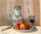 Still Life paintings - Still Life with Apples and Pitcher by Camille Pissarro