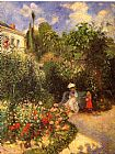 Garden paintings - The garden at Pontoise 1877 by Camille Pissarro