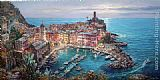 Cao Yong Moonlight in Vernazza painting