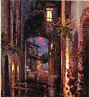 Cao Yong Street at night painting