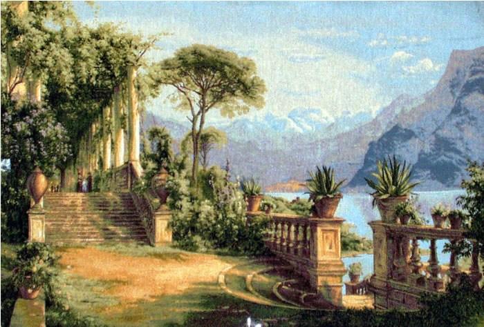 Handmade Oil Painting repro  Carl Frederic Aagaard Lodge on Lake Como