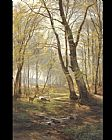 Carl Fredrik Aagard A Woodland Scene With Deer painting
