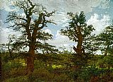 Caspar David Friedrich Landscape with Oak Trees and a Hunter painting