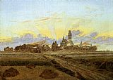 Caspar David Friedrich Sunrise near Neubrandenburg painting