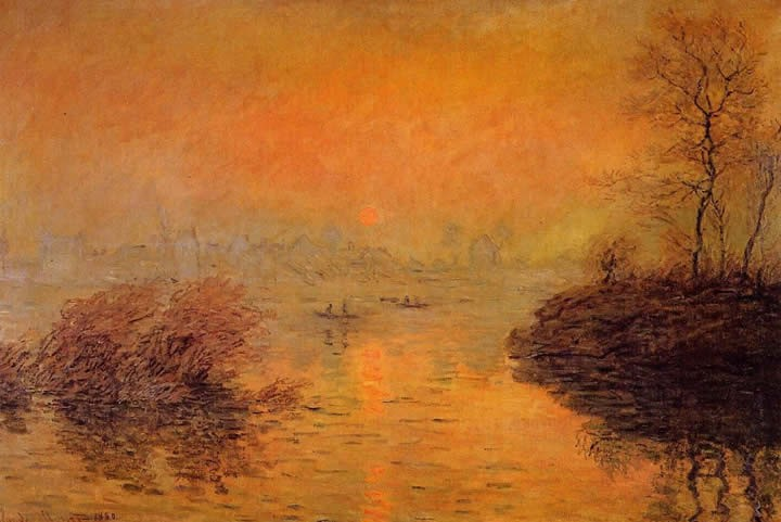 Claude Monet Sunset on the Seine at Lavacourt Winter Effect