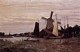 Lighthouse paintings - A Windmill at Zaandam by Claude Monet