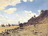 Claude Monet Beach at Honlfeux painting
