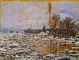 Claude Monet Breakup of Ice Grey Weather painting