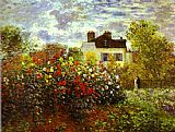 Garden paintings - Monet's Garden at argenteuil by Claude Monet