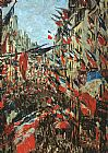 Claude Monet Rue Montargueil with Flags painting
