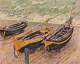 Claude Monet Three Fishing Boats painting