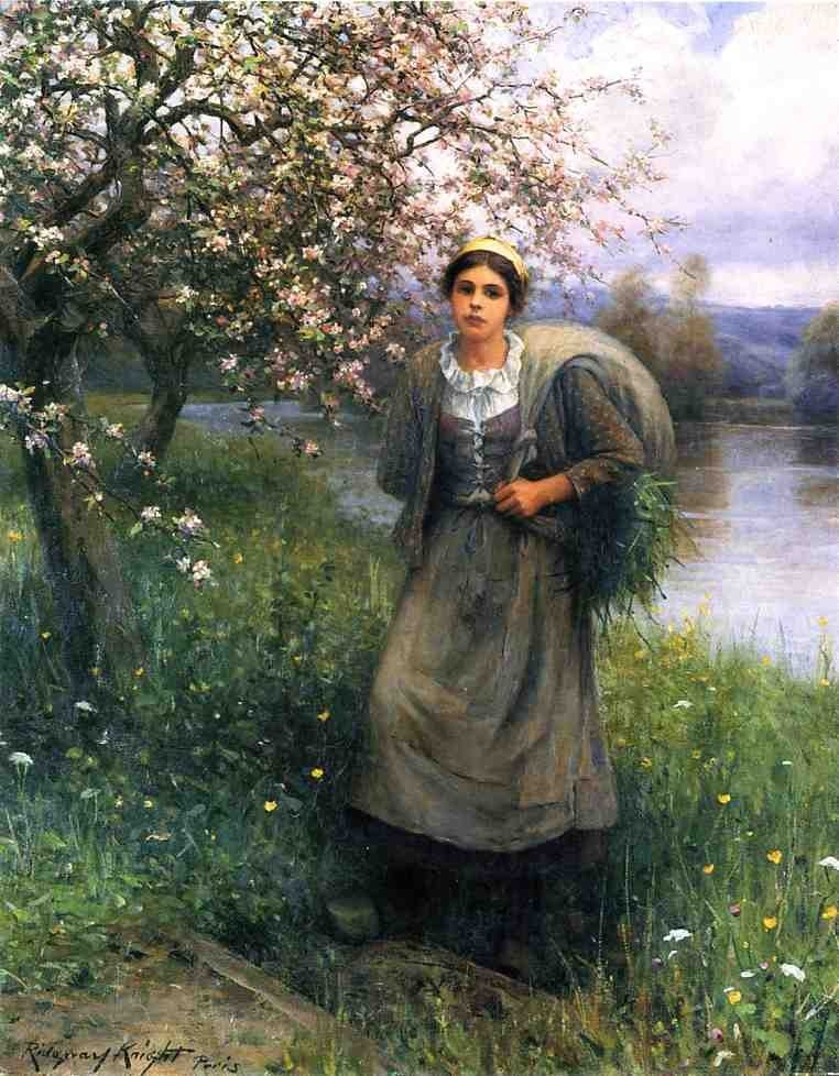Daniel Ridgway Knight Apple Blossoms in Normandy