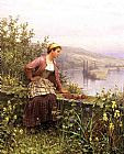 Daniel Ridgway Knight Brittany Girl Overlooking Stream painting