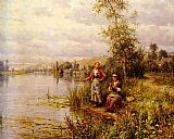 Daniel Ridgway Knight Country Women Fishing on a Summer Afternoon painting