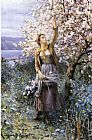 Daniel Ridgway Knight Gathering Apple Blossoms painting