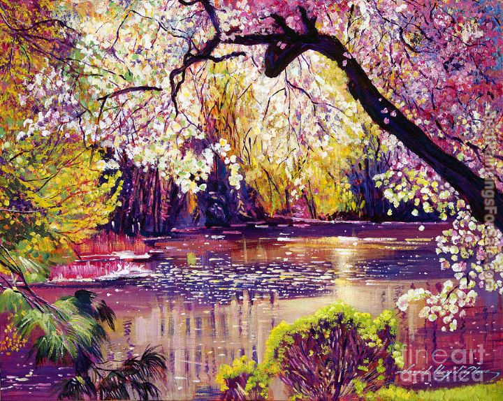 David lloyd glover central park spring pond painting What do we call a picture painted on a wall