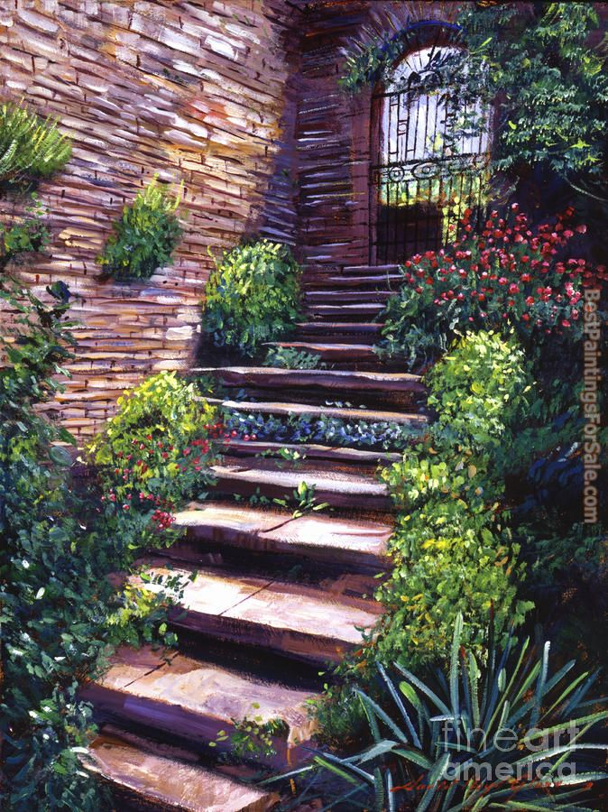 David Lloyd Glover Stone Steps Tuscany Painting Best