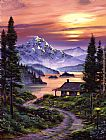David Lloyd Glover Cabin On The Lake painting