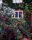 David Lloyd Glover English Manor House Roses painting