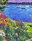 David Lloyd Glover Sailboat Bay Garden painting