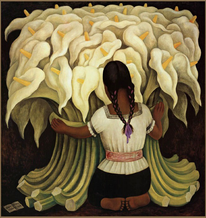 Diego Rivera Girl with Lilies
