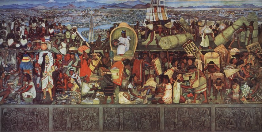 Diego rivera the great city of tenochtitlan painting for Diego rivera tenochtitlan mural
