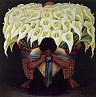 Diego Rivera El Vendador de Alcatraces (The Vendor of Alcatraces) painting