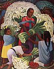Diego Rivera Mercado De Flores (The Flower Vendor) painting