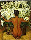 Diego Rivera Nude with Calla Lilies painting