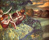 Ballet paintings - Four Dancers by Edgar Degas