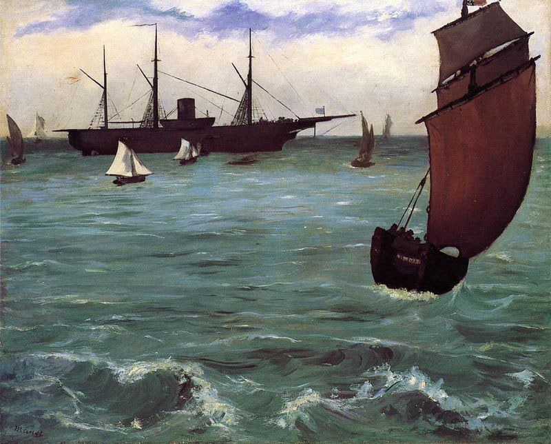 Edouard manet fishing boat coming in before the wind for Fishing boat painting