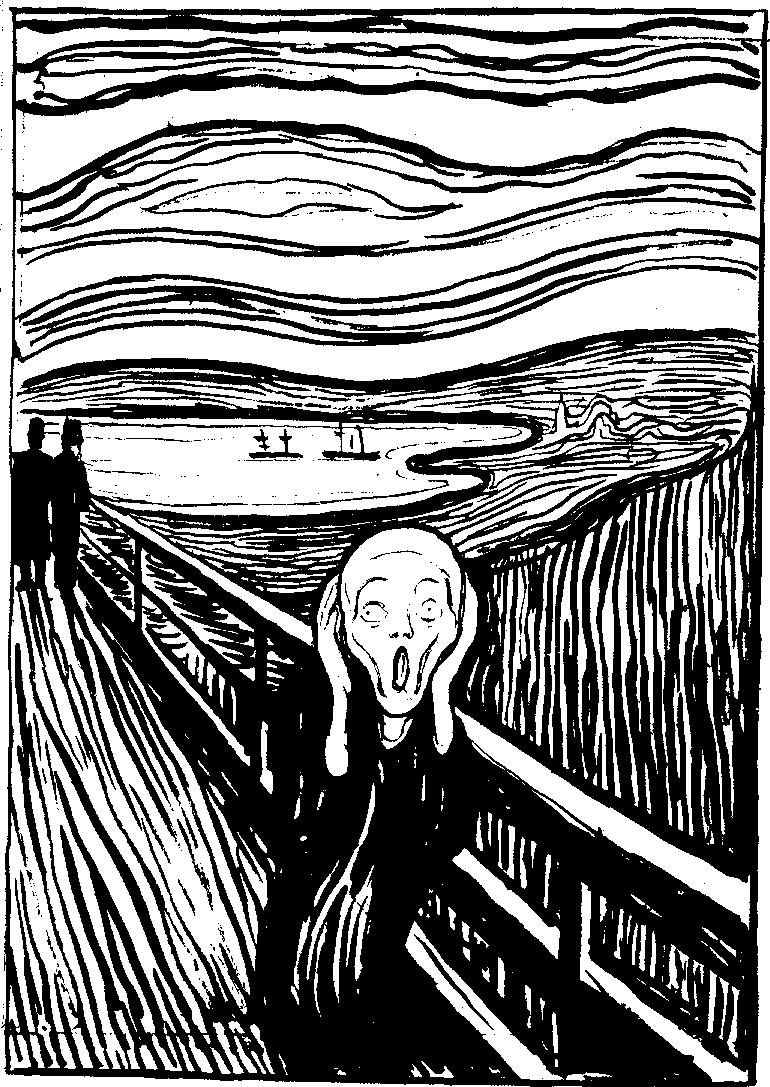 Edvard Munch the Scream white and black
