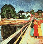 Edvard Munch At the bridge  painting
